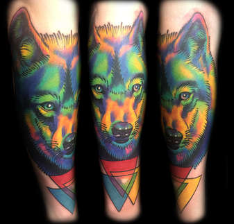 Color Wolf Tattoo by Las Vegas Tattoo Artist Joe Riley