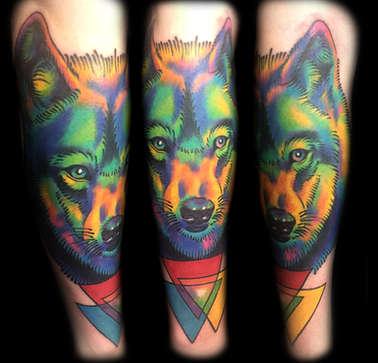 Color Wolf Tattoo by Las Vegas Tattoo Artist Joe Riley