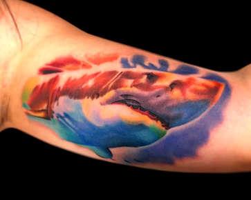 Watercolor Shark Tattoo - Las Vegas - Josh Herrera