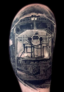 Realism 3D Tattoo of a train