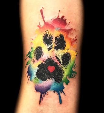 Watercolor Dog Paw Tattoos by Las Vegas Tattoo Artist Danny Valens
