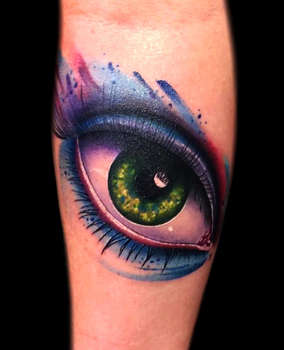 Watercolor Eye Tattoo by Josh Herrera