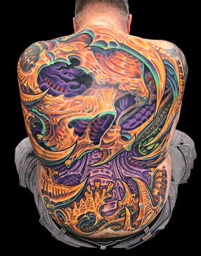 Biomechanical Skull Tattoo - Full Back