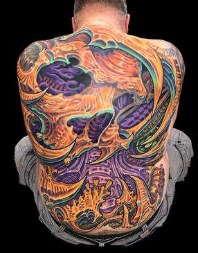 Biomechanical Skull Tattoo - Full Back