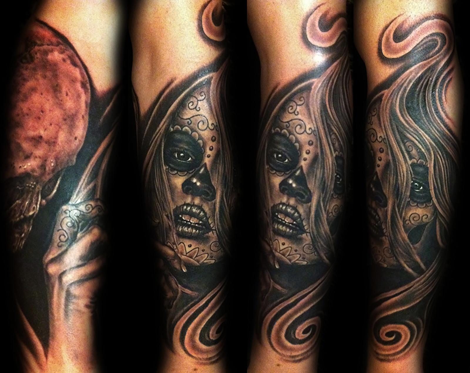 Day of the dead tattoos las vegas best tattoo shops strip for Tattoo shops on the vegas strip