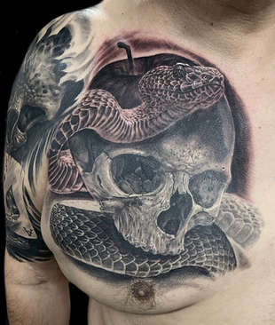 realistic skull tattoo with snake