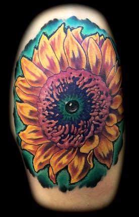 Newschool Sunflower Tattoo by Joe Riley, Las Vegas