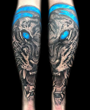 Matching Realistic Tiger Tattoos by Las Vegas Tattoo Artist Danny Valens
