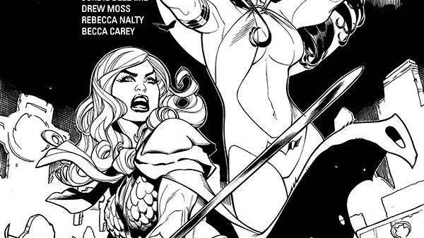 Vampirella Red Sonja #1 1:50 Terry and Rachel Dodson B&W Incentive Variant