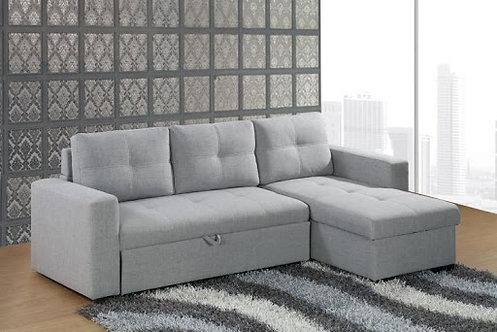 L Shape Storage Sofa Bed, Black Leather or Grey Fabric