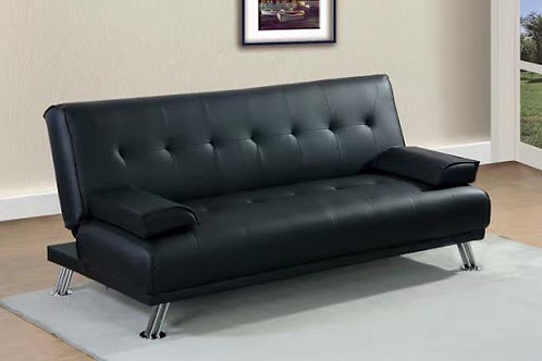 3-Seater Black Leather or Grey Fabric Sofa Bed