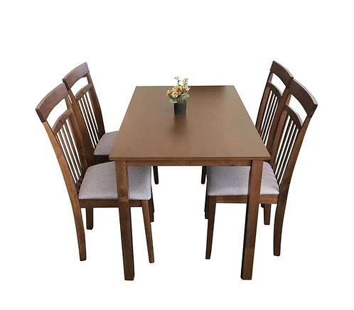 Malaysia Rubberwood Dining Sets: Solid Robber Wood Dining Table with 4 Upholster