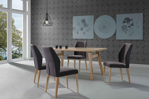 Elegant Rubberwood Dining Sets: Solid Timber Table with 4/6 Upholstered Chairs