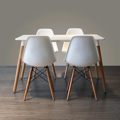 5-Piece/7-Piece White Rectangular Dining Tables & Chairs Set