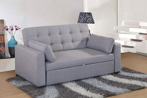 Grey Fabric Two-Seater Pull Out Sofa Bed