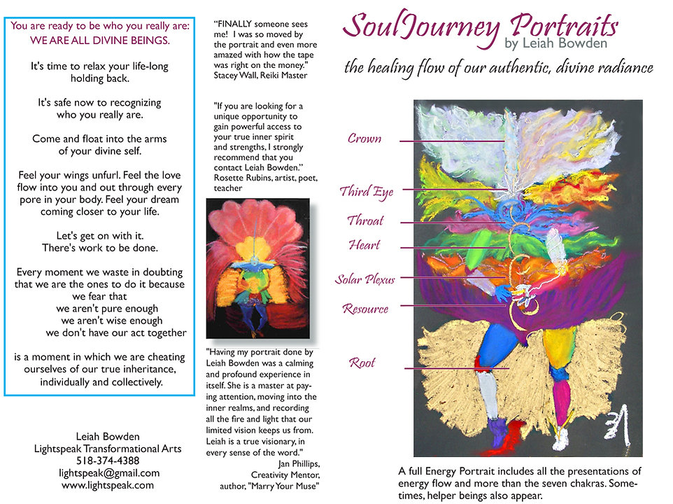 Lightspeak SoulJourney Energy Portraits show how the soul's essence manifests through the chakras.