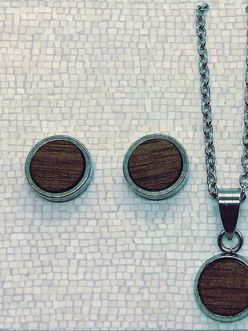 Wood Earring and necklace set