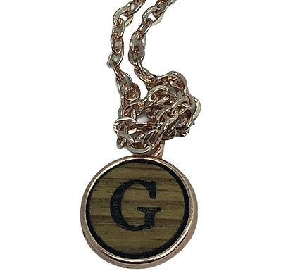 Initial Necklace in Oak 12mm