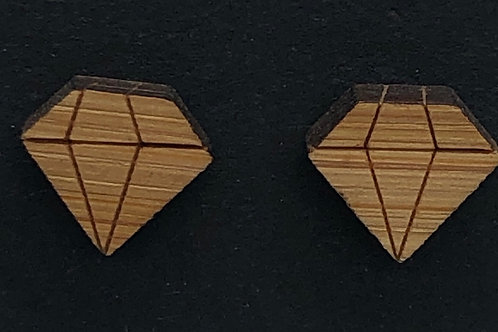 Wood Diamond-shaped Earrings