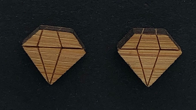 Wood Diamond-shaped Earrings