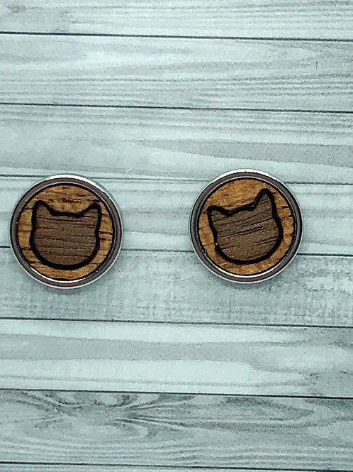 Oak & Mahogany cat inlay studs 10 mm