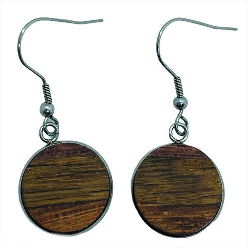 Purple Heart Quartersawn Oak and Jatoba  16mm Circle Earrings