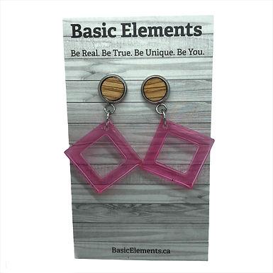 Oak and Pink Resin Earrings