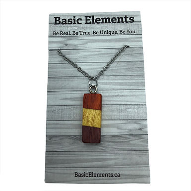 Purple & Yellow Heart and Padauk Necklace