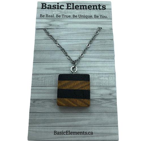 Marble and Osage Orange Wood Necklace