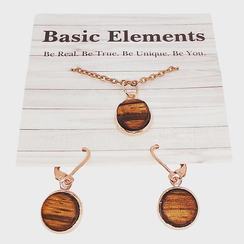 Zebra Wood Rose Gold Dangle Earrings and Necklace Set