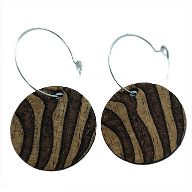 "Mahogany ""Zebra"" 25mm Earrings"