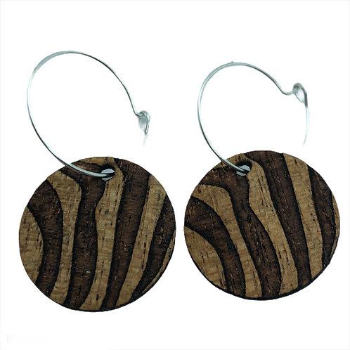 "Mahogany ""Zebra"" 25mm Earrings"