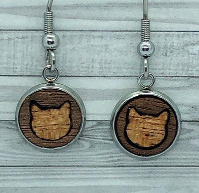 Wood Cat Inlay Dangly Earrings 10mm