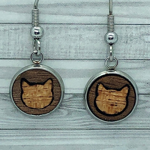 Wood Cat Inlay Dangly Earrings 10mm