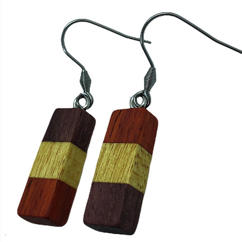 Purple Heart/Yellow Heart/Padauk Earrings