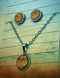 Canary Wood Earrings and Necklace Set