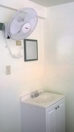 En Suite sink and mounted fan