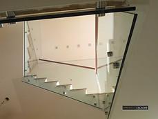 Corrimão de vidro e botão
