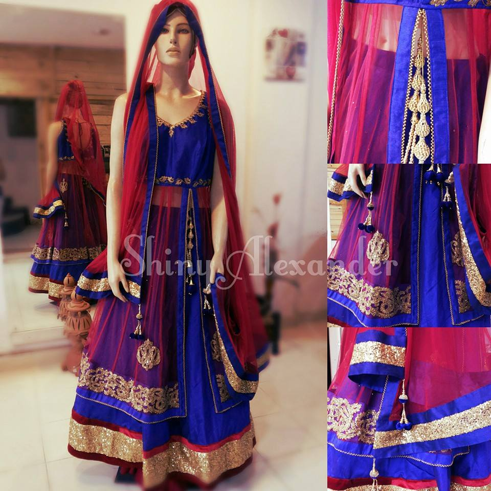 25_Customised Anarkali lehenga in Raw silk and net with zari work, sequence and velvet border