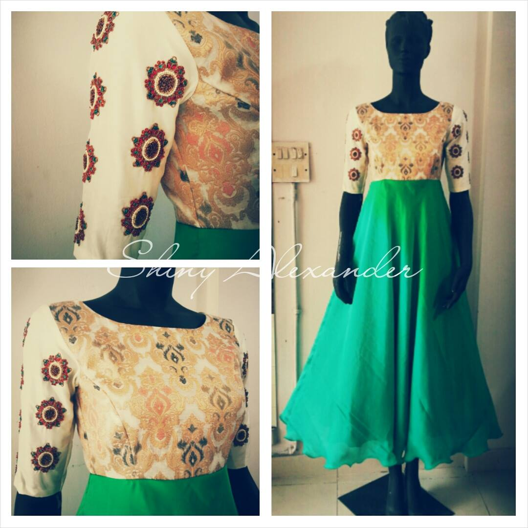 62_Crepe brocade anarkali
