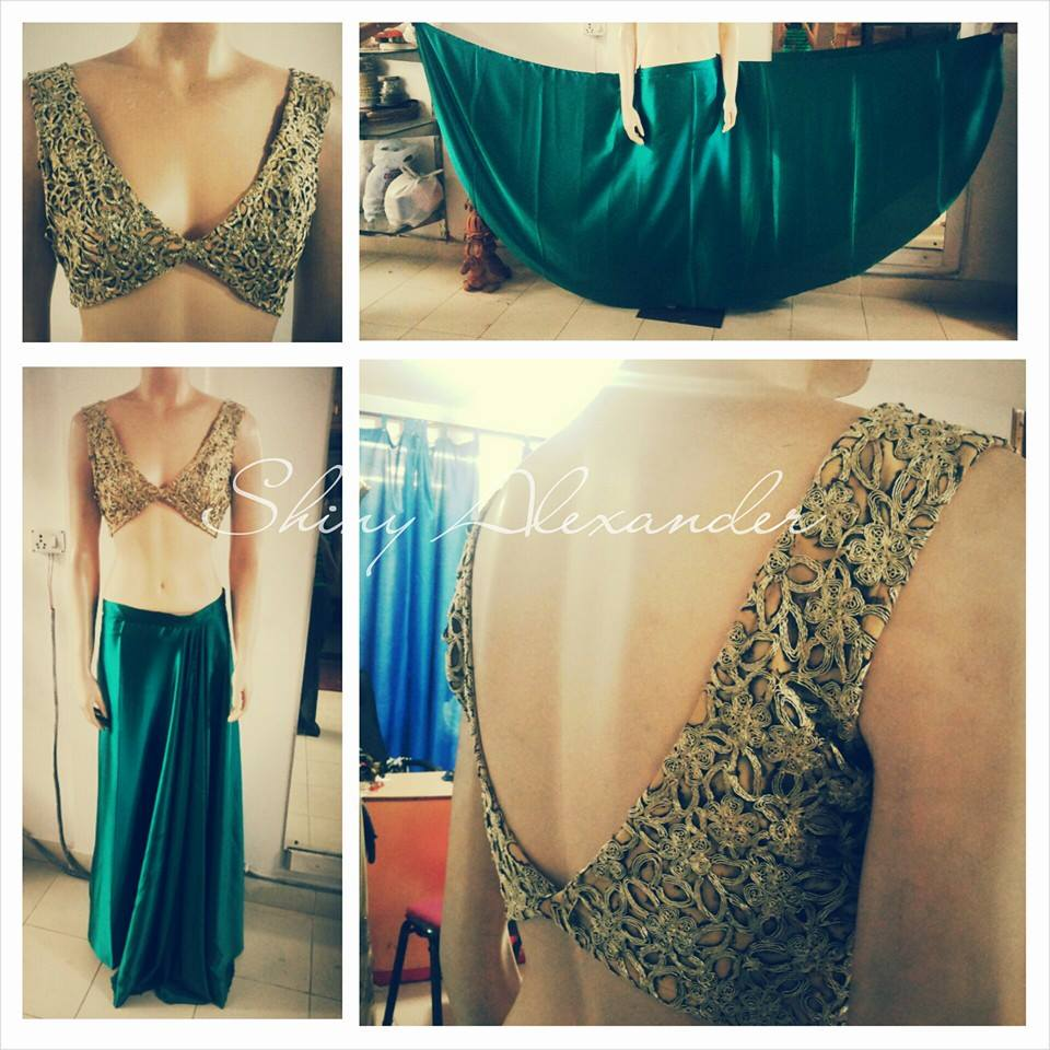 64_Give-away lehenga that was made for a fashion show... satin full flare skirt teamed with gold cut