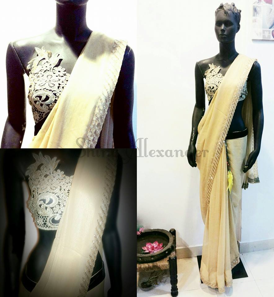 26GOLD IS THE NEW BLACK Antique gold cutwork blouse and shimmer gold saree with velvet and stone bor