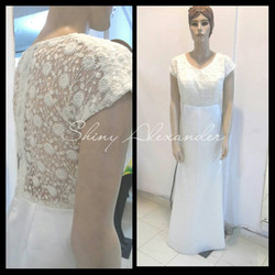 Customized white gown in net and satin_