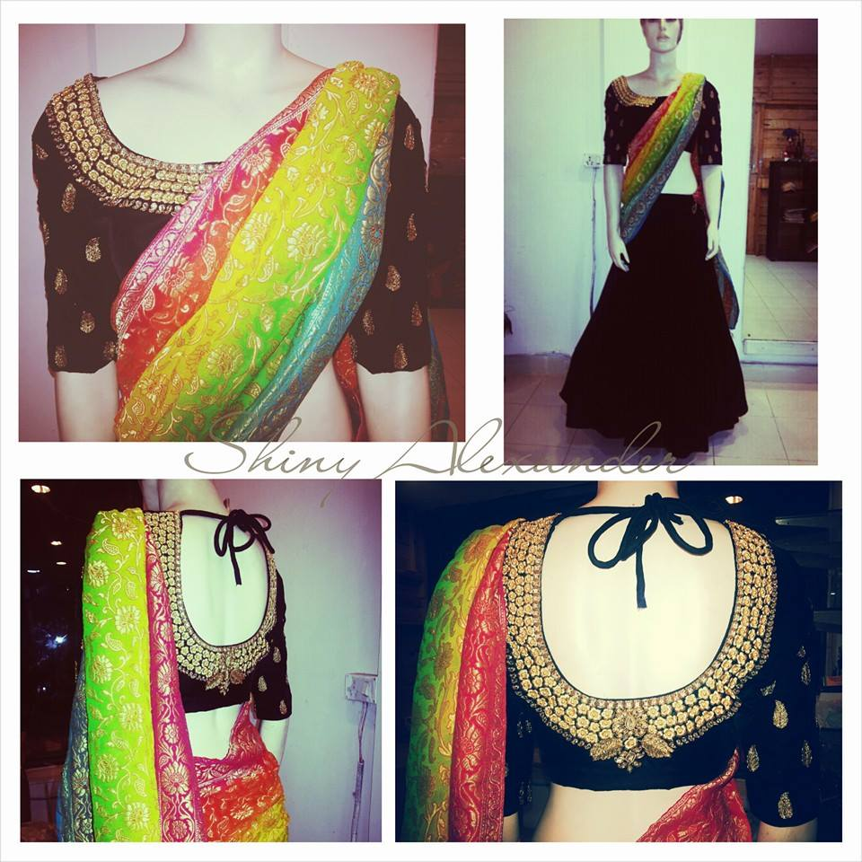 61_Made to order velvet lehenga with banaras brocade multicoloured dupatta