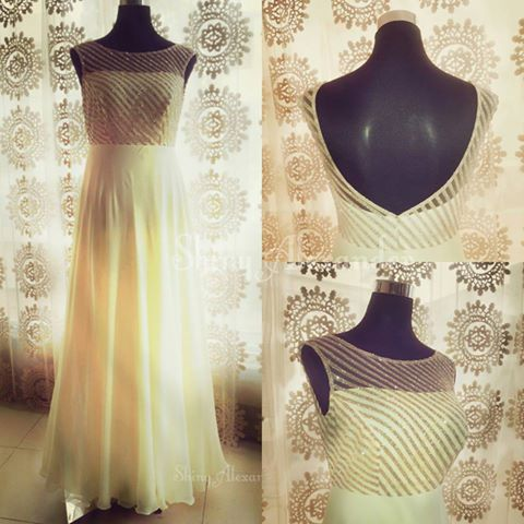 Customised pure georgette ball gown_