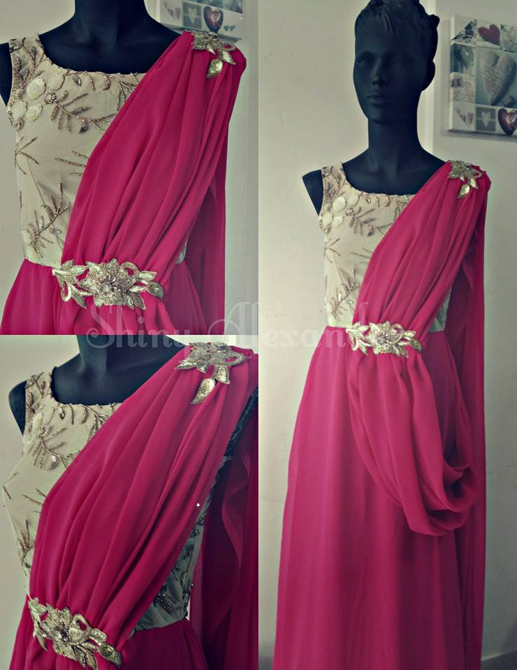 20_Customised drapped georgette gown with embroidered yoke