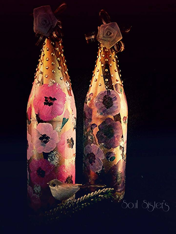 nature themed hand painted home decor bottle lamp