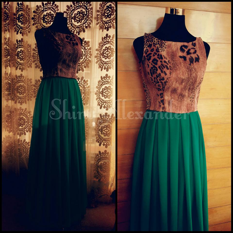 4_Playful pleated georgette emerald green skirt teamed with pink animal printed crop top