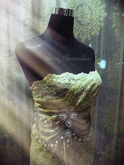 customised drape lace gown_