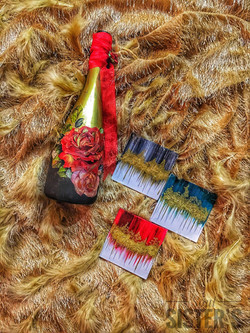 Champagne Bottle and Foil painting COasters